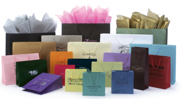 Assorted Matte Laminated Shopping Bags Hot Stamped