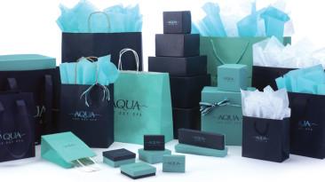 Coordinated Chocolate, Aqua & Navy Packaging
