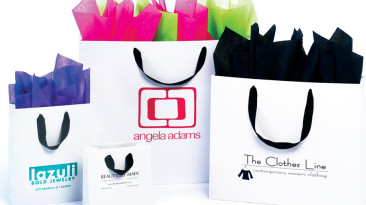 Ribbon Handle Shopping Bags: Shoppers with grossgrain-handles