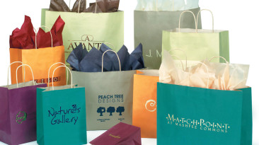 Paper Shopping Bags: Matte Color Tints on Oatmeal Paper Shopping Bags