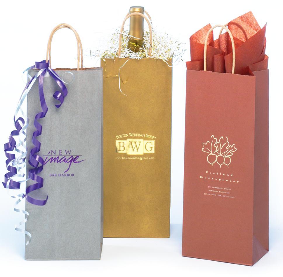 Paper Ping Bag Metallic Colors On Natural Kraft Wine Bottle Bags