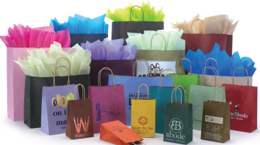 Paper Shoppinig Bags with Varnish Stripe on Natural Kraft Tinted Bags