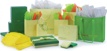 Coordinated green packaging photo for emailing