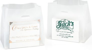 Plastic Bags: Die Cut Frosted Clear Shopping Bags