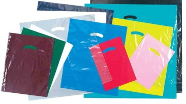 Plastic Bags with Diecut Handles: stock bags in many colors, plain