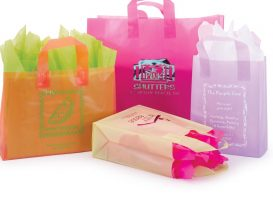 Plastic Shopping Bags: Frosted Bright Collection Shopping Bags