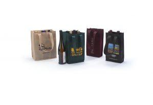 Jute Wine Bottle Bags color sensation print