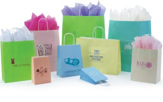 Paper Shopping Bags: Matte Color Tints on White Kraft Paper Shopping Bags