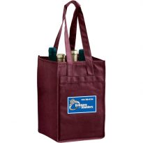 Vineyard Collelction: Non Woven Reusable Wine Bottle Bags: Four Bottle Bag