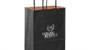 Rose Paper Shopping Bags Natural Kraft Mirage Stripe Hot Stamped #EP4M538
