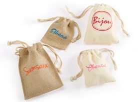 Canvas and Jute Drawstring Pouches