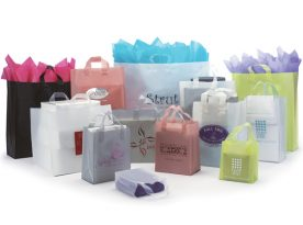 Frosted High Density Shopping Bags with Soft Loop Handles.