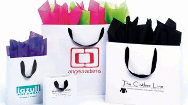 Matte Laminated Black Grosgrain Handle European Shopping Bags