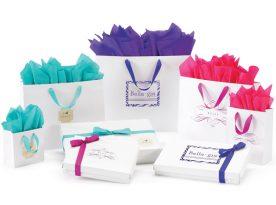 Matte Laminated Colored Grosgrain Handle European Shopping Bags