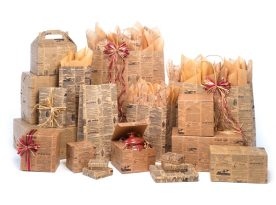 Tan Newsprint Shopping Bags
