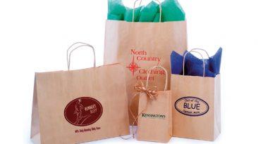 Textured Natural Kraft Shopping Bags